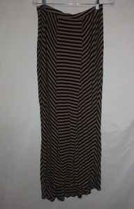 Black Brown Contrasting Strioes Stretch Maxi Skirt